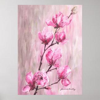 Poster color de rosa rosado de la rama