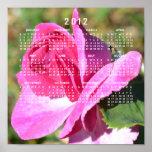 Poster color de rosa rosado del calendario de octu