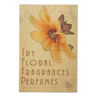 Poster coloreado vintage del perfume cuadro de madera