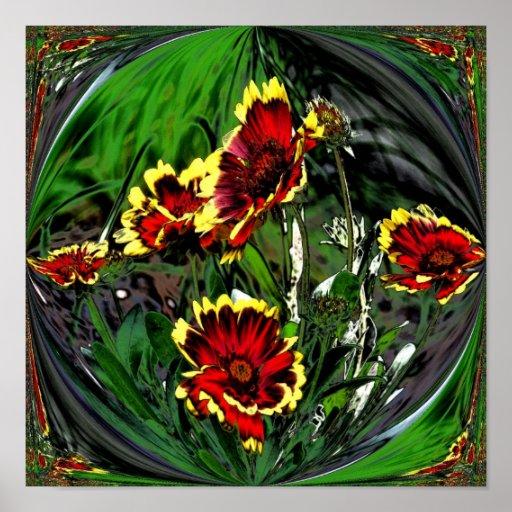 Poster colorido abstracto de la flor de las