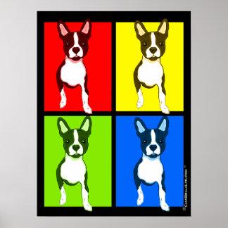 Poster colorido de Boston Terrier del patio del ar