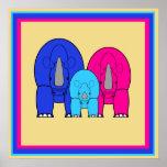 Poster colorido de la familia del rinoceronte