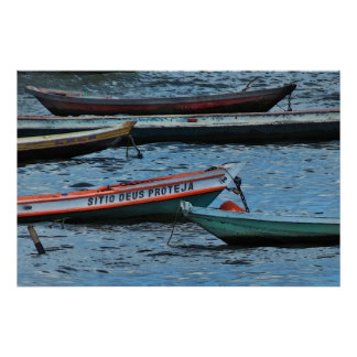 Poster colorido de la foto de los barcos del Amazo