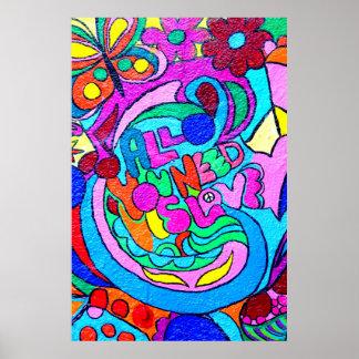 poster colorido de la paz y del amor del hippie