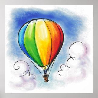 Poster colorido de la pintura del globo del aire c