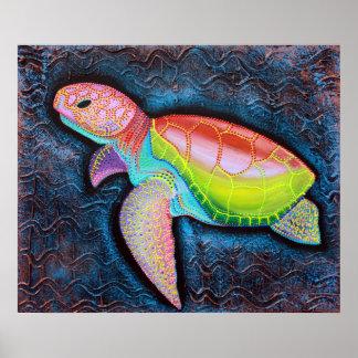 Poster colorido de la tortuga de mar