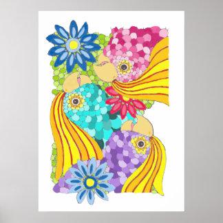Poster colorido del Cockatiel