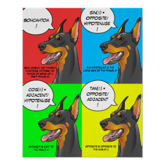 Poster colorido del Doberman de la trigonometría