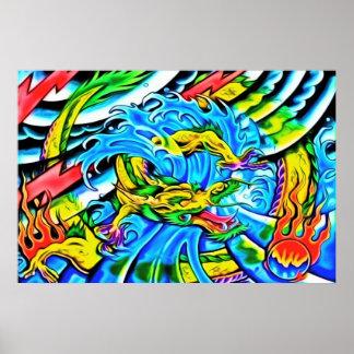 Poster colorido del dragón