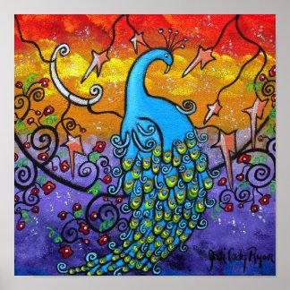 Poster colorido del pavo real del encantamiento