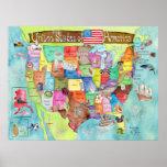 Poster colosal de la acuarela de Estados Unidos pa