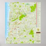 Poster com mapa da cidade de Tel Aviv em Israel