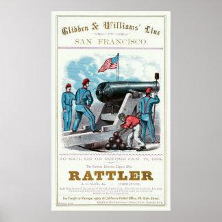 Poster comercial de la tarjeta de Rattler 1864 de
