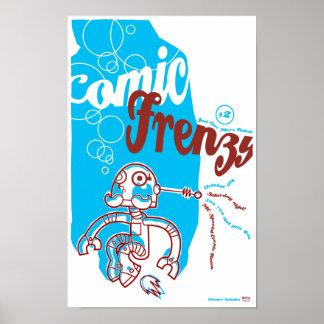 Poster cómico del robot del frenesí póster