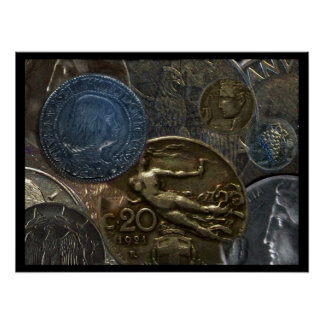 Poster - Composition of Antique Italian Coins
