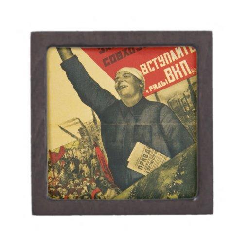 Poster comunista de la propaganda del vintage ruso cajas de regalo de calidad