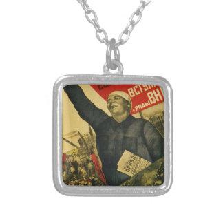 Poster comunista de la propaganda del vintage ruso colgante cuadrado