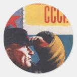 Poster comunista de la propaganda del vintage ruso etiquetas redondas