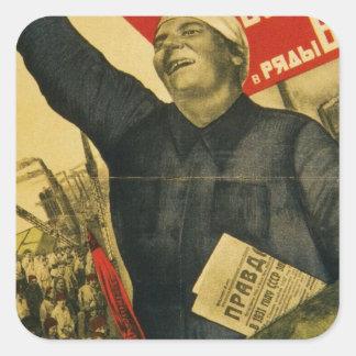 Poster comunista de la propaganda del vintage ruso pegatina cuadrada