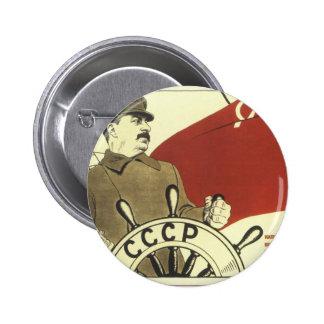 Poster comunista de la propaganda del vintage ruso pin redondo de 2 pulgadas