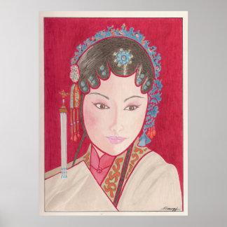 Poster con arte original del bailarín chino