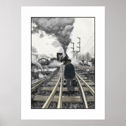Poster con el ejemplo del ferrocarril del vintage