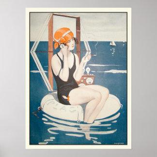 Poster con el ejemplo francés del verano del vinta