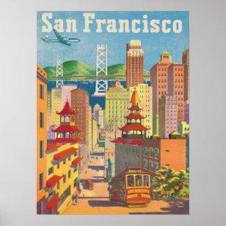 Poster con el motivo de San Francisco del vintage