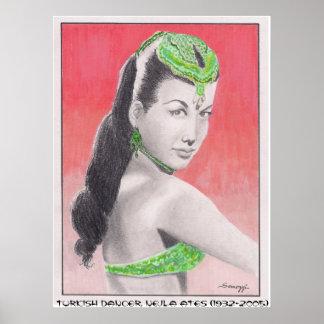 Poster con el orig. arte del bailarín turco, Nejla
