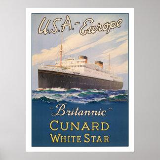 Poster con el poster de la publicidad del barco de
