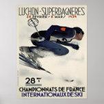 Poster con el poster fresco del esquí de Francia