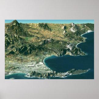 Poster con imagen por satélite sobre Cape Town