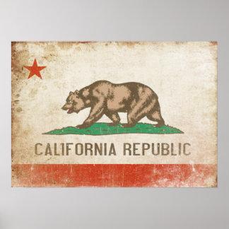 Poster con la bandera apenada de California