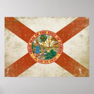 Poster con la bandera apenada de la Florida