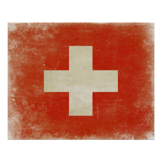 Poster con la bandera apenada de Suiza