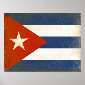 Poster con la bandera apenada del vintage de Cuba