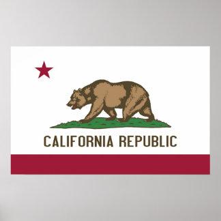 Poster con la bandera de California, los E.E.U.U.