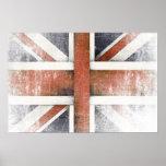 Poster con la bandera de Gran Bretaña del vintage