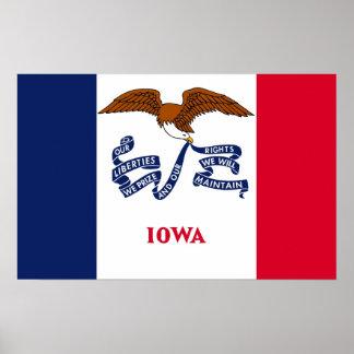Poster con la bandera de Iowa, los E.E.U.U.