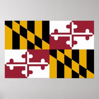 Poster con la bandera de Maryland, los E.E.U.U.