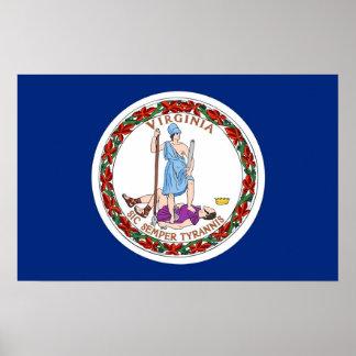 Poster con la bandera de Virginia, los E.E.U.U.