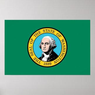 Poster con la bandera de Washington, los E.E.U.U.