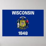 Poster con la bandera de Wisconsin, los E.E.U.U.
