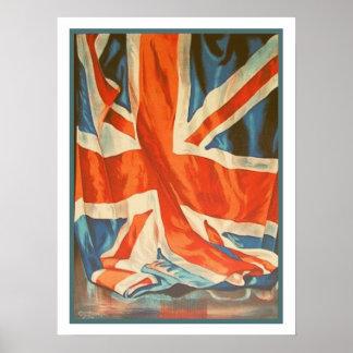Poster con la bandera del vintage de Reino Unido