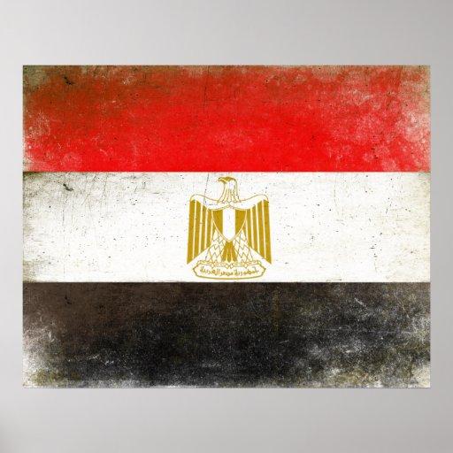 Poster con la bandera fresca de Egipto