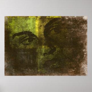 Poster con la cara pintada del arte pop en amarill