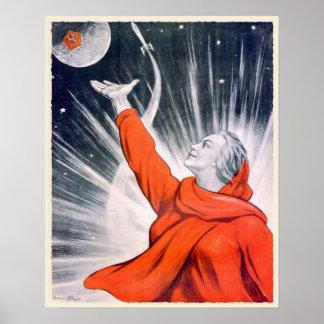 Poster con la impresión de la propaganda de URSS d
