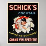Poster con la impresión de la publicidad del vino
