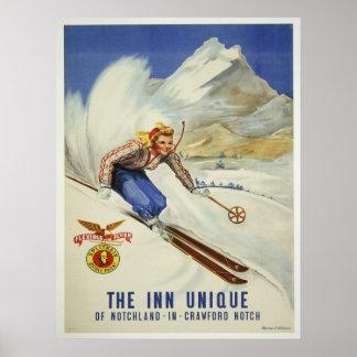 Poster con la impresión del esquí del vintage