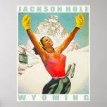 Poster con la impresión del esquí del vintage de A